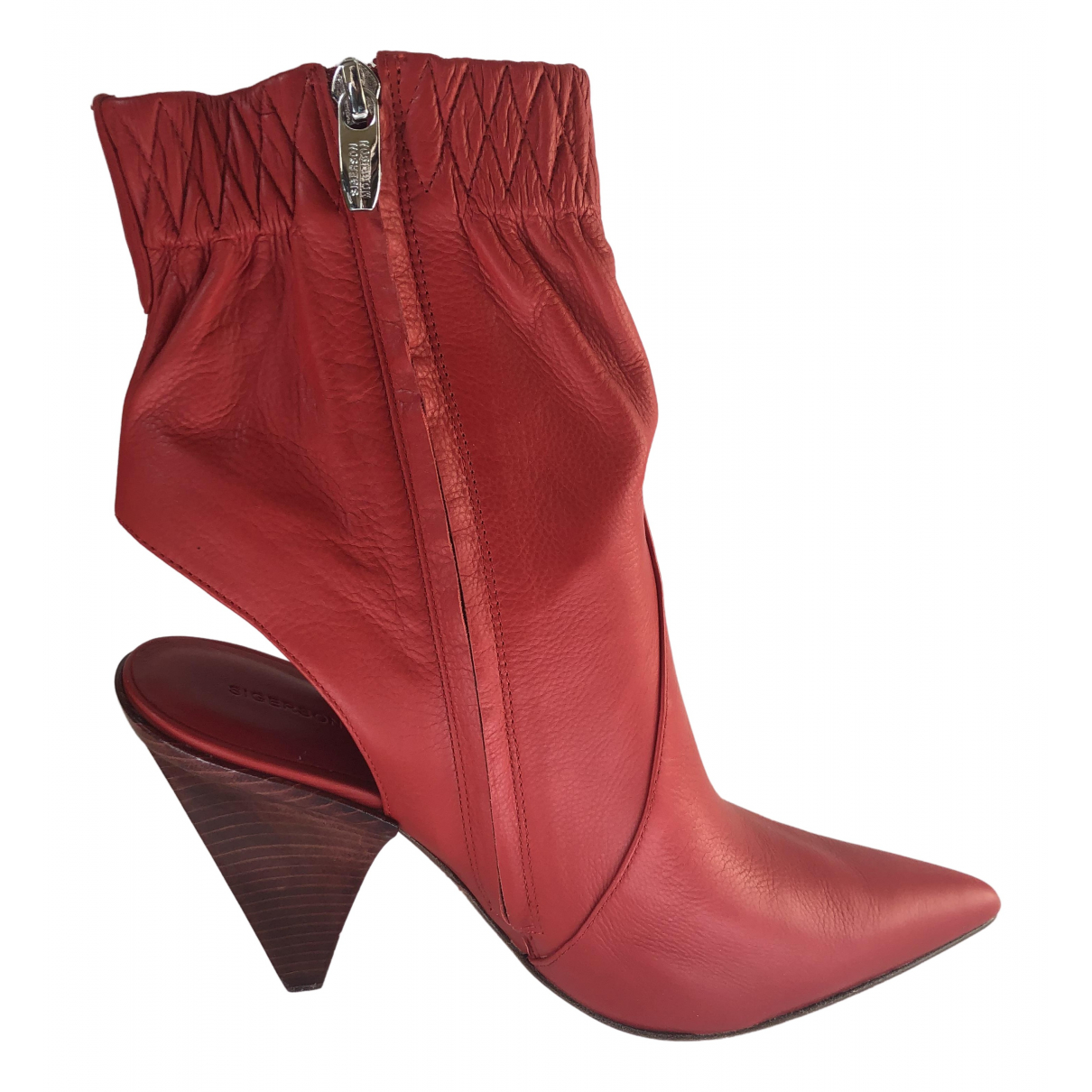 Sigerson Morrison \N Red Leather Ankle boots for Women 10 US
