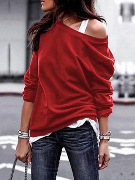 YOINS Red One Shoulder Long Sleeves Sweatshirt