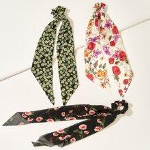 3 Stuecke Schal mit Blumen Muster