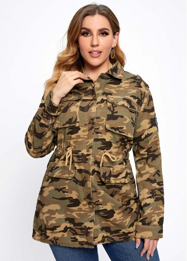 Drawstring Waist Plus Size Camouflage Print Jacket - L