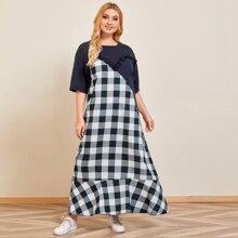 Kleid mit Kontrast Karo Muster und Rueschenbesatz