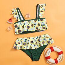 Bikini Badeanzug mit Sonnenblumen Muster und Ruesche