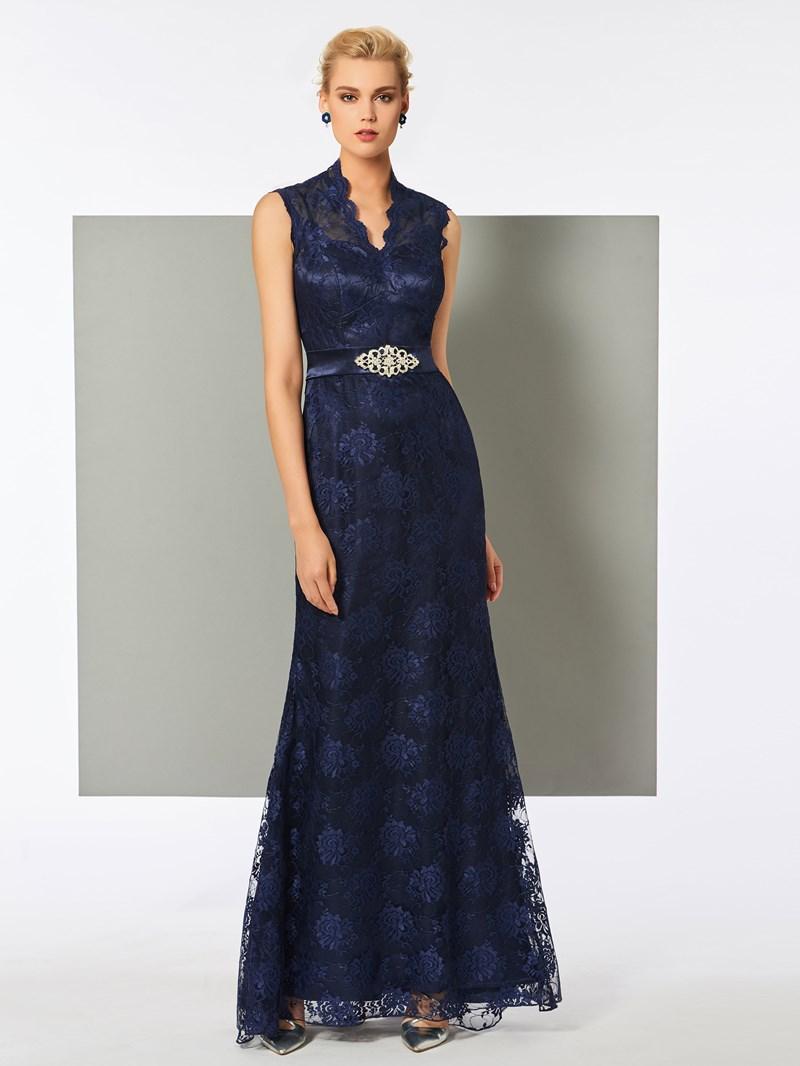 Ericdress V Neck Sleeveless Floor Length Lace Evening Dress