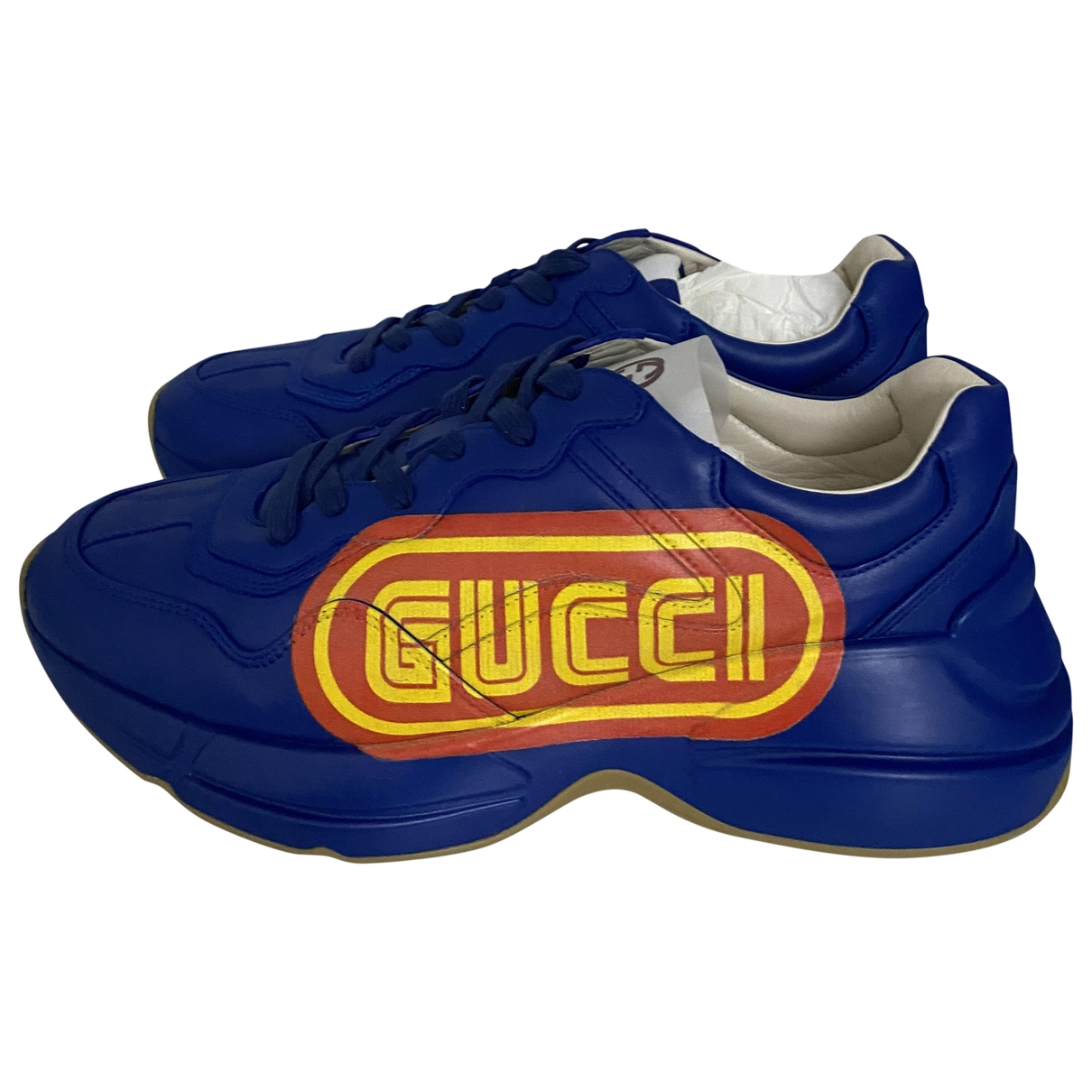 Gucci Rhyton Blue Leather Trainers for Men 41 EU
