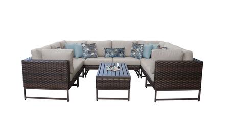 Barcelona BARCELONA-09c-BRN 9-Piece Patio Set 9c with with 4 Corner Chairs  4 Armless Chairs and 1 Coffee Table - 1 Beige Cover with Brown