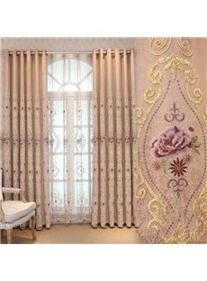 Pink Floral Pattern Princess Style Room Darkening Curtain