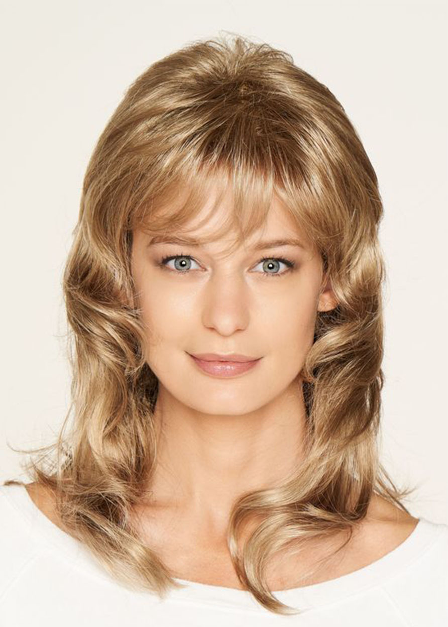 Human Hair Loose Wave Lace Front Cap 18 Inches 120% Wigs Heat Resistant Natural Looking Daily Party Wigs Cosplay Wigs with Natural Bangs with Free Wig