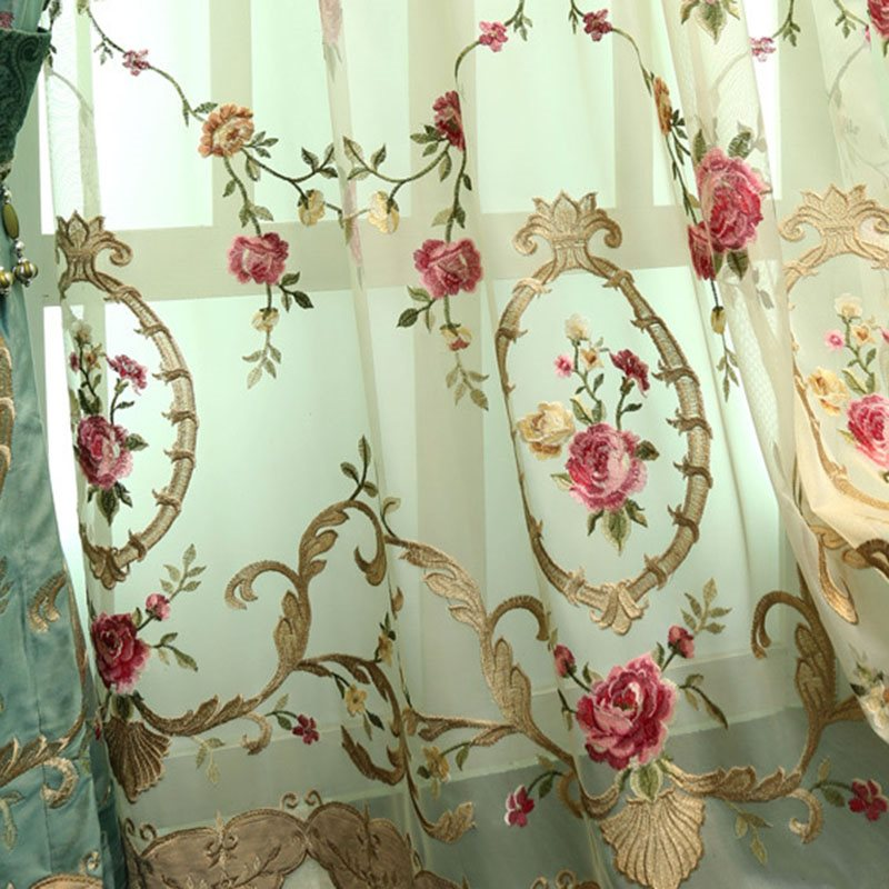 Elegant Classy Embroidered Decorative Customs Sheer Curtains for Living Room Bedroom