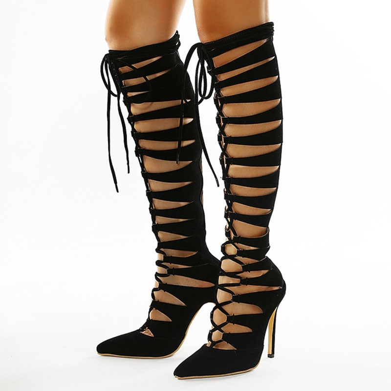 Ericdress Lace-Up Front Pointed Toe Plain PU Boots