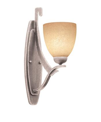 Copenhagen 4341PS/1502 1-Light Wall Bracket in Pearl Silver with Large Faux Calcite Standard Glass
