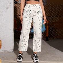 Jeans mit Karikatur Grafik und geradem Beinschnitt