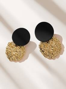 Two Tone Textured Round Stud Earrings 1pair