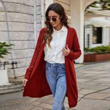 Drop Shoulder Open Front Cardigan
