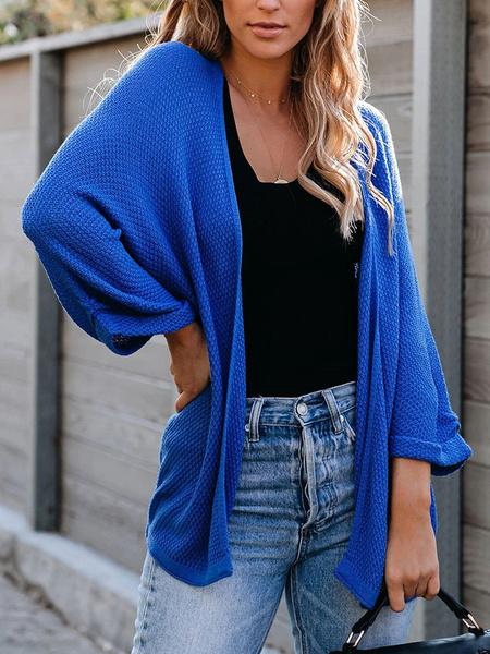 Milanoo Women Blue Cardigans Long Sleeves Casual Sweaters