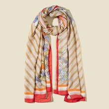 Floral & Striped Pattern Scarf