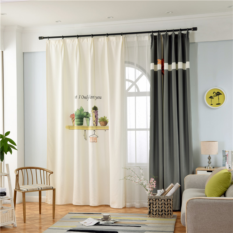 Blackout Polyester Digital Printing Green Plants Cactus and Cross Concise Style Curtain