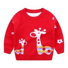 Pullover mit Hirsch Muster und rundem Kragen
