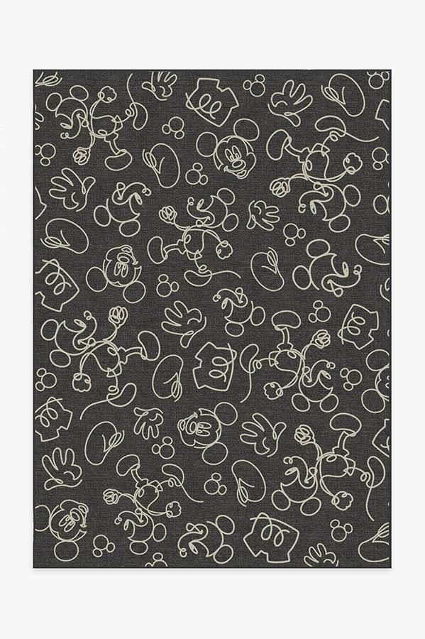 Washable Rug Cover & Pad | Mickey Doodles Onyx Rug | Stain-Resistant | Ruggable | 5x7