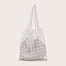 Beaded Decor Tote Bag With Inner Pouch
