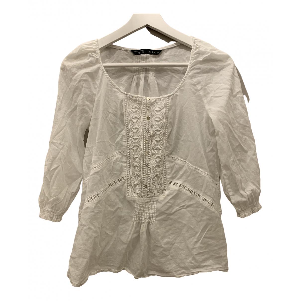 Zara N White Cotton  top for Women XS International