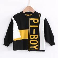Pullover mit Kontrast Einsatz und Buchstaben Muster