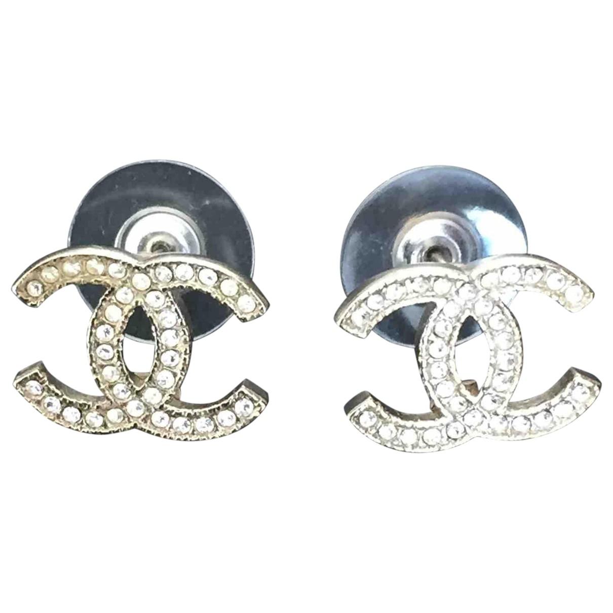 Chanel - Boucles doreilles CC pour femme en metal - ecru