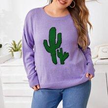 Pullover mit Kaktus Muster und sehr tief angesetzter Schulterpartie