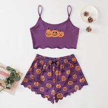 Schlafanzug Set mit Halloween & Buchstaben Muster und gekraeuseltem Saum