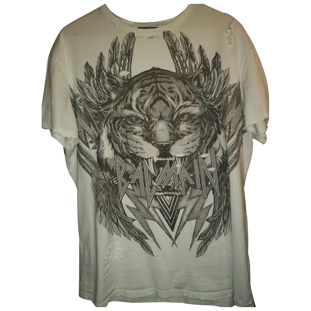 Balmain - Tee shirts   pour homme en coton - blanc