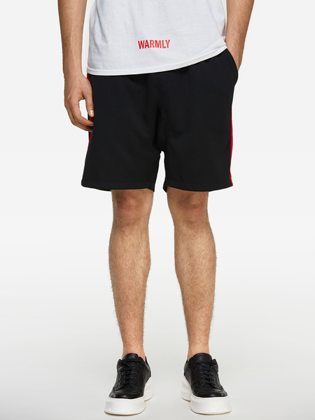 Yoins Summer Black With Red Side Stripes Elastic Waist Men's Casual Shorts