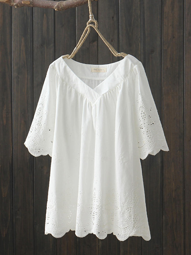 Embroidery Hollow Cotton Blouse