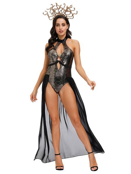 Milanoo Disfraces de Halloween de la medusa Negro atractivo del vestido de traje Headwear