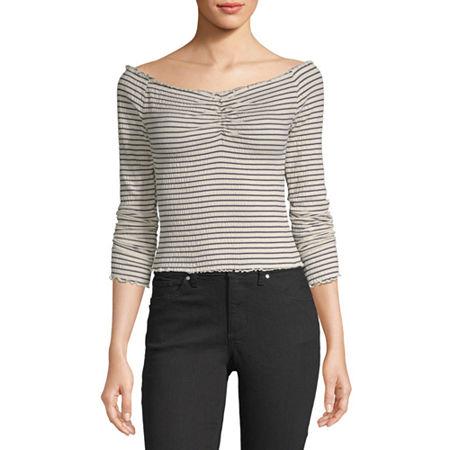 Arizona Womens Straight Neck Long Sleeve Blouse - Juniors, Medium , White