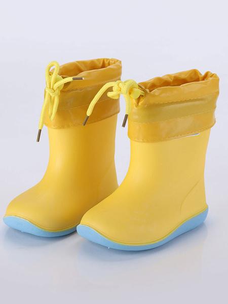 Milanoo Rain Boots For Girls Boys Kids Skid-Resistant Color Block Round Toe Children Shoes