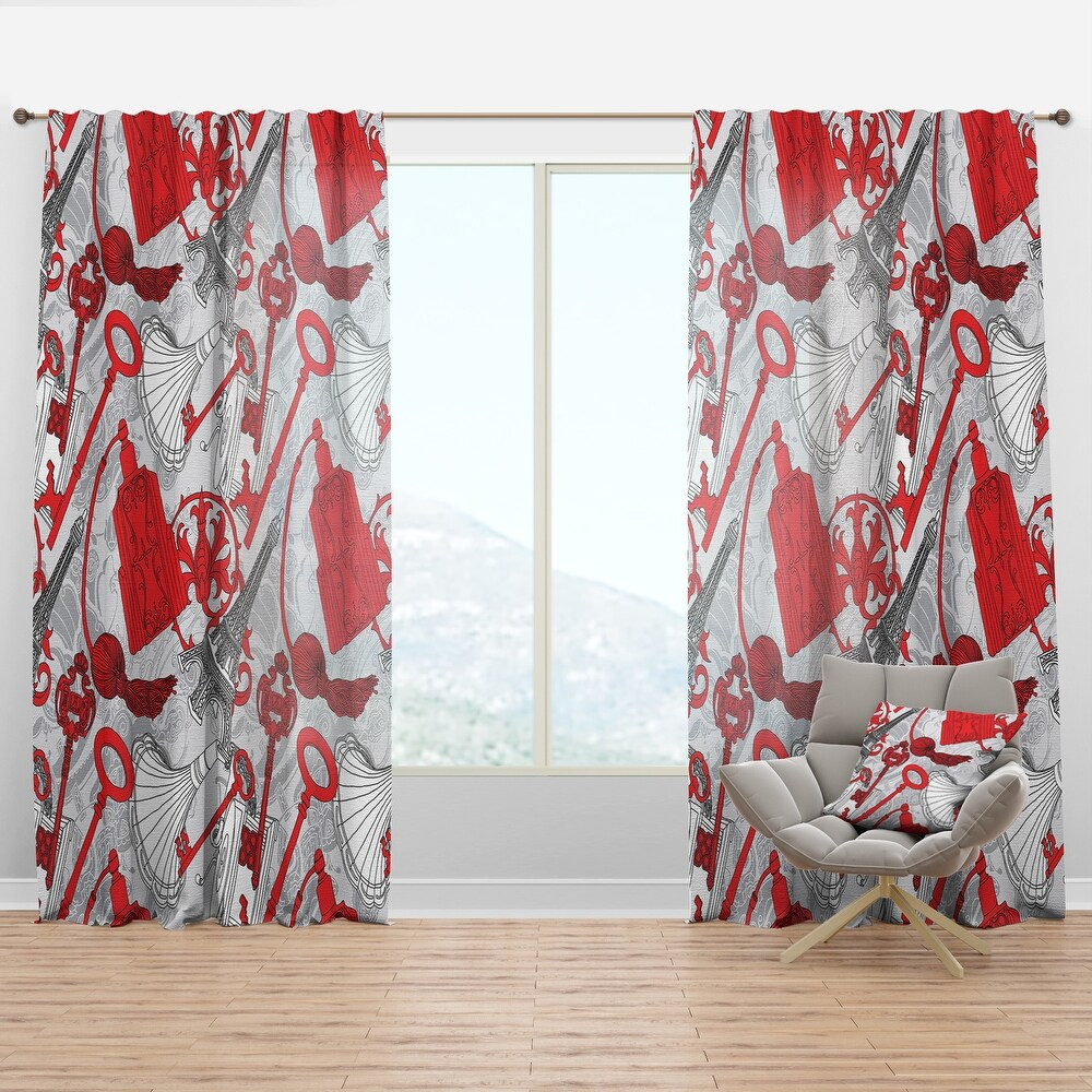 Designart 'Drawing of Paris with Red Keys' Cityscapes Curtain Panel (50 in. wide x 108 in. high - 1 Panel)