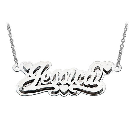 Personalized 14x43mm Polished 3D Name Necklace, One Size , White