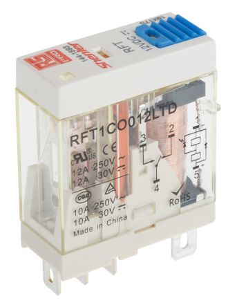 RS PRO , 12V dc Coil Non-Latching Relay SPDT, 12A Switching Current Plug In Single Pole