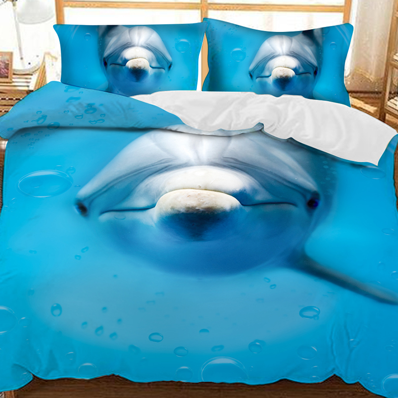 Dolphins Swimming In The Sea Soft 3D Printed Polyester 3-Piece Bedding Sets/Duvet Covers