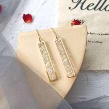 1 Paar Kristall Gravur Rechteck Design Design Ohrringe