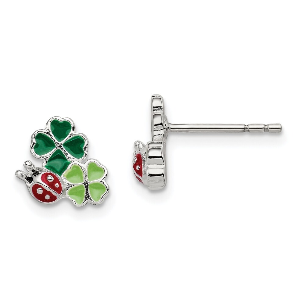Sterling Silver Enamel Ladybug and Clovers Kid's Post Earrings by Versil (White)