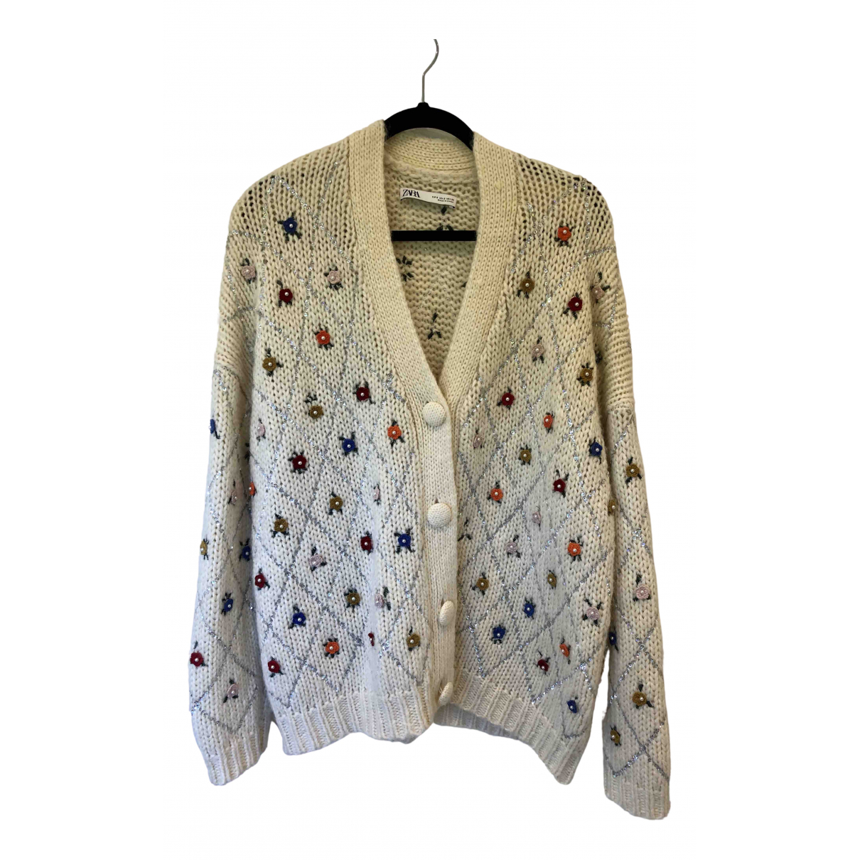 Zara \N Pullover in  Weiss Synthetik