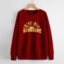 Drop Shoulder Letter & Sun Graphic Oversized Sweatshirt