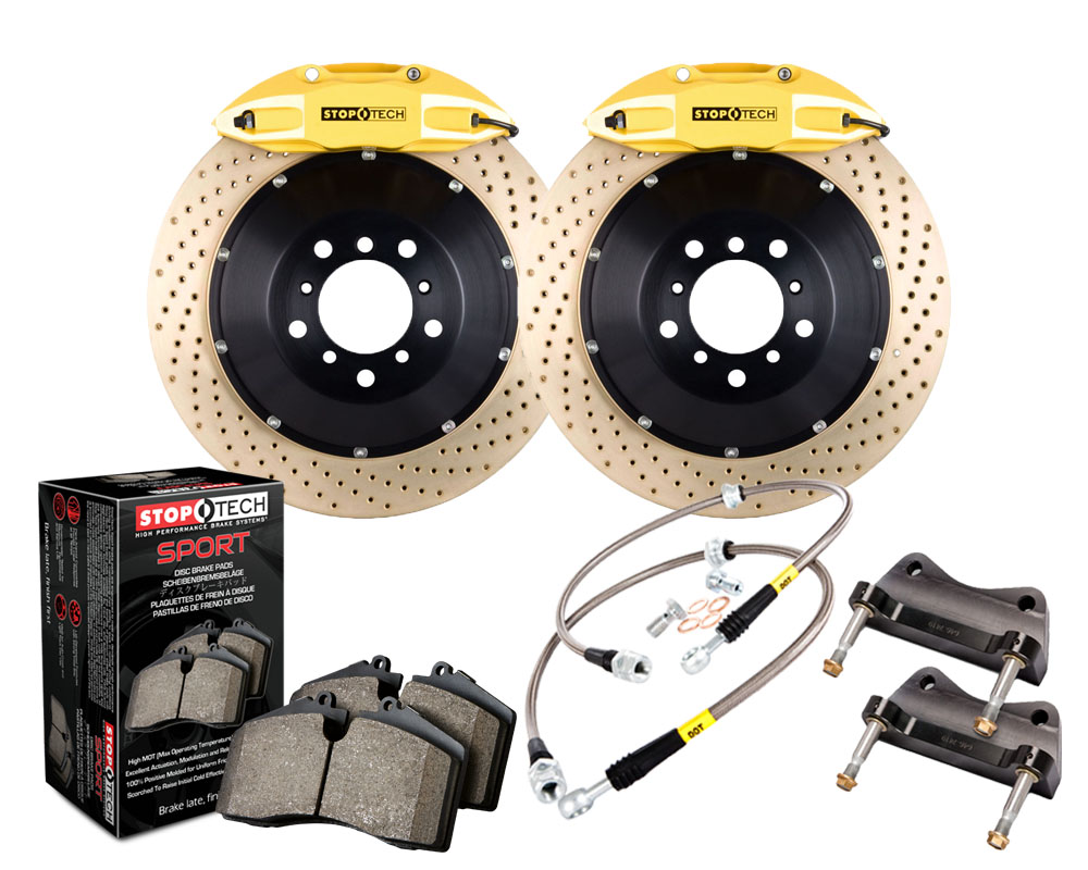 StopTech 83.B38.0058.84 Big Brake Kit; Black Caliper; Slotted Two-Piece Rotor; Front BMW Rear 15-20