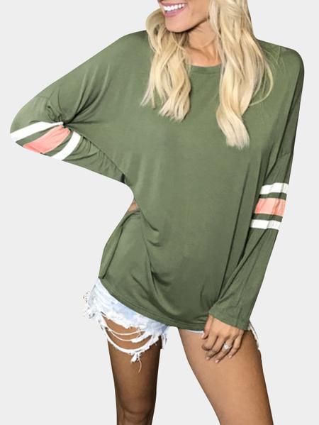 Yoins Army Green Stripe Pattern Round Neck Long Sleeves T-shirt