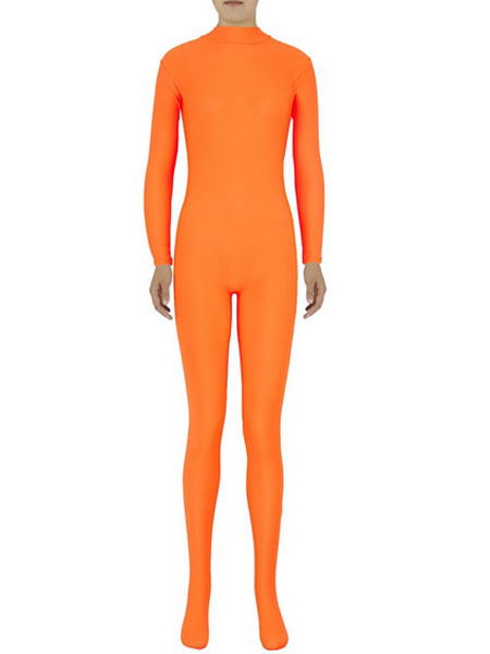 Milanoo Orange Morph Suit Adults Bodysuit Lycra Spandex Catsuit for Women