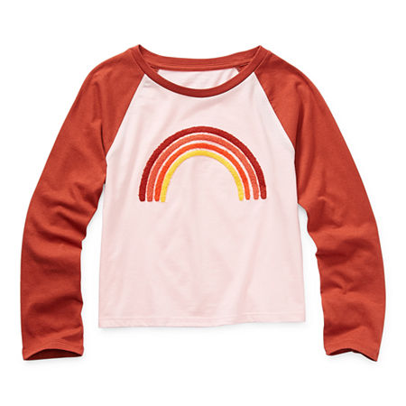 Arizona Little & Big Girls Round Neck Long Sleeve Graphic T-Shirt, Large (14) , Pink