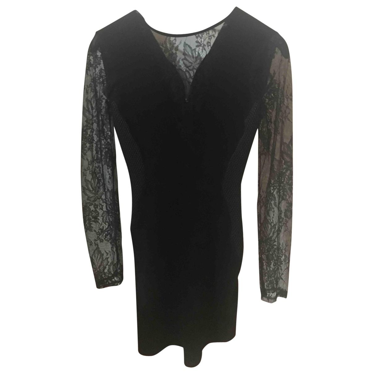 Zara \N Kleid in  Schwarz Veloursleder