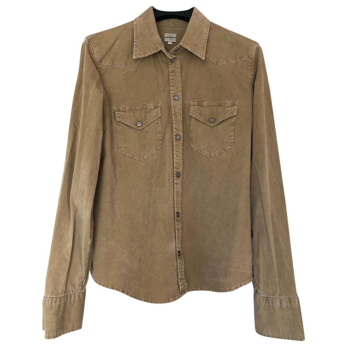 Calvin Klein - Top   pour femme en velours - beige
