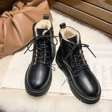 Buckle Lace-up Fluffy Combat Boots