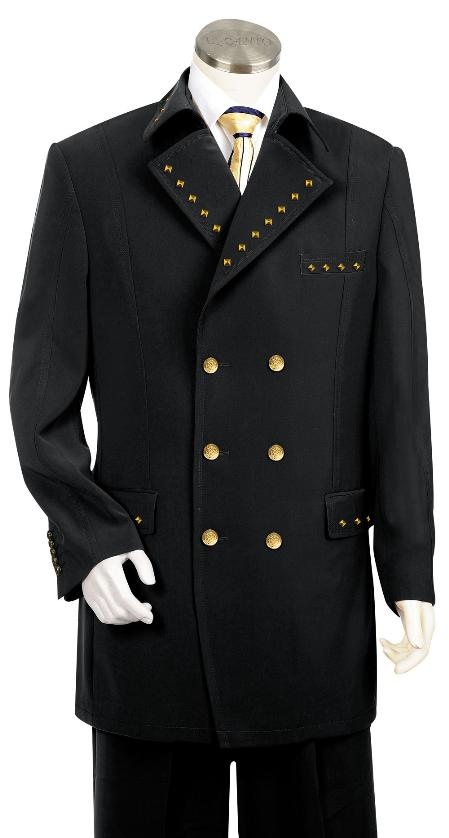 Mens 3 Piece Double Breasted Suit Metal Accents Black
